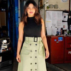 Priyanka Chopra Green Skirt by Christopher Bu for Spring