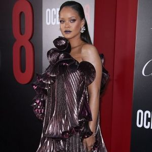 Rihanna Givenchy Purple Metallic Dress Ocean's 8 Premier Red Carpet