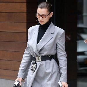 Bella Hadid Oversized Blazer Suit Chanel Belt Street Style NYC