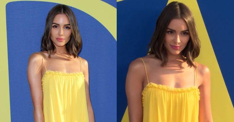 Olivia Culpo Yellow Ruffle Dress Backless CFDA Awards Red Carpet 2018 by Rebecca Minkoff