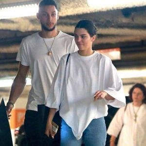 Kendall Jenner with Ben Simmons White Oversized Top Blue Cropped Denim