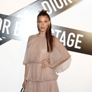Bella Hadid Dusty Pink Cape Dress Dior Backstage 2018