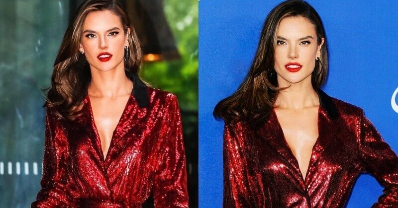 Alessandra Ambrosio Red Sequin Mini Dress Red Carpet Tommy Hilfiger CFDA Awards 2018