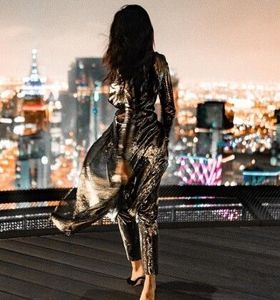 Shay Mitchell in Metallic Silver Tunic Dress