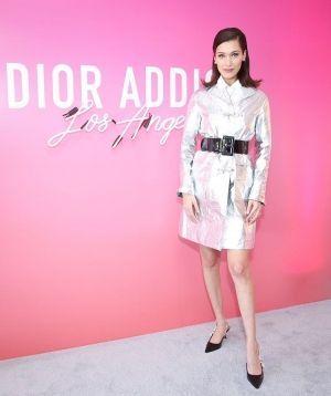 Bella Hadid Black Leather Dior Slingback Pumps 2018