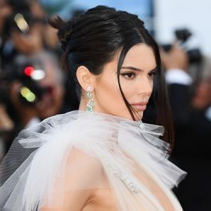 Kendall Jenner Braless in White See Through Dress Cannes Red Carpet 2018