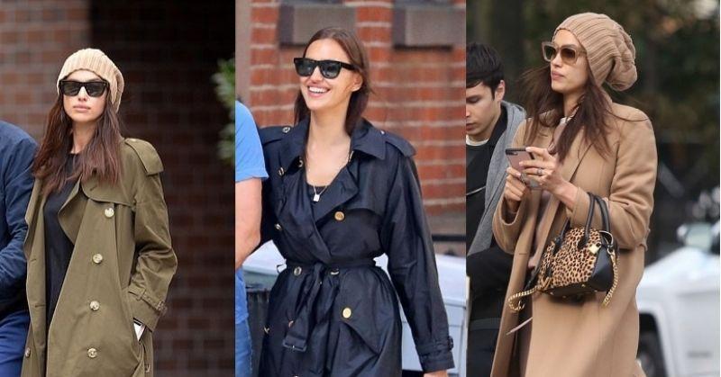 Irina Shayk Trench Coats - Black, Khakhi and Military Green